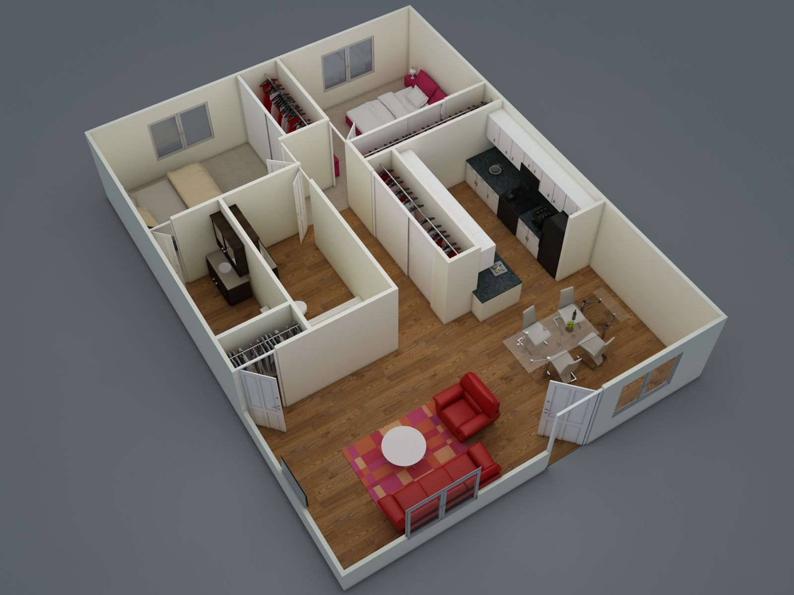 Two Bedroom | One + Half Bath | D2 Floor Plan 3