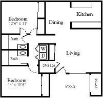 2x2 Duplex Floor Plan 2