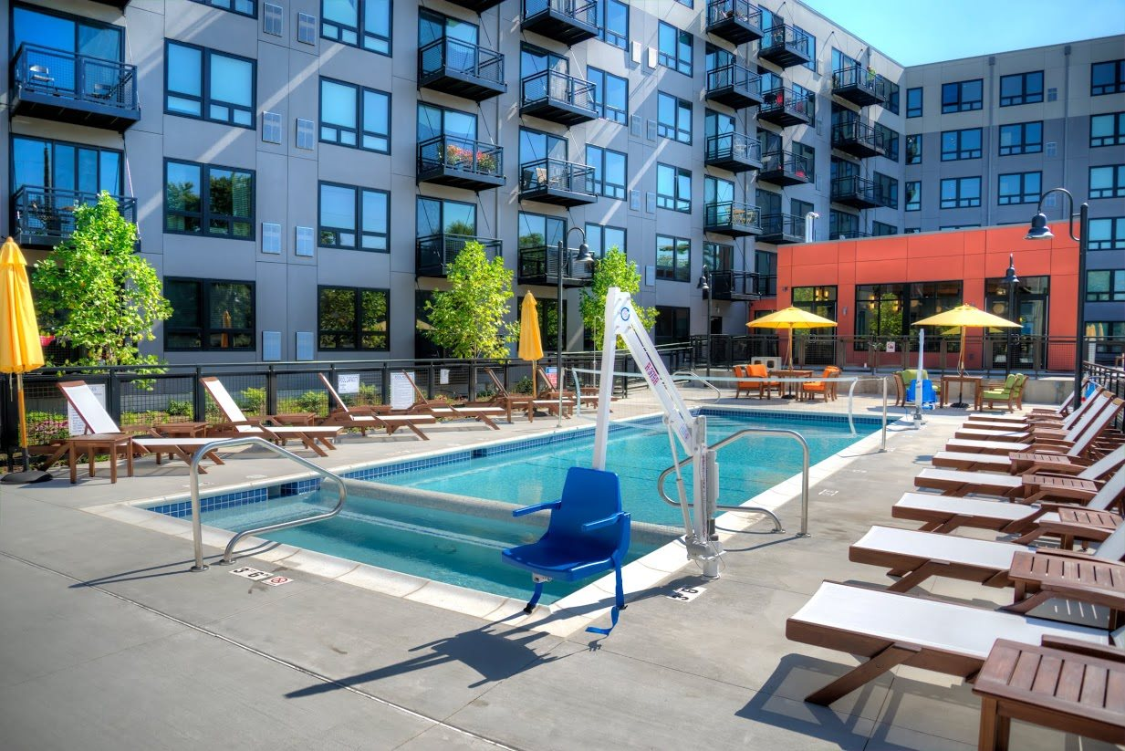 Outdoor pool with sundeck, 618 South Main, Ann Arbor Michigan