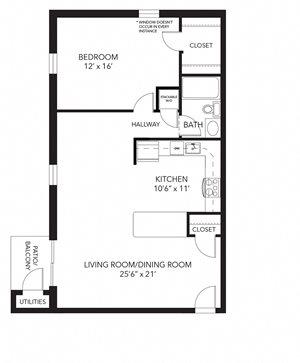 Banbury floor plan at Corner Park apartments, West Chester, PA