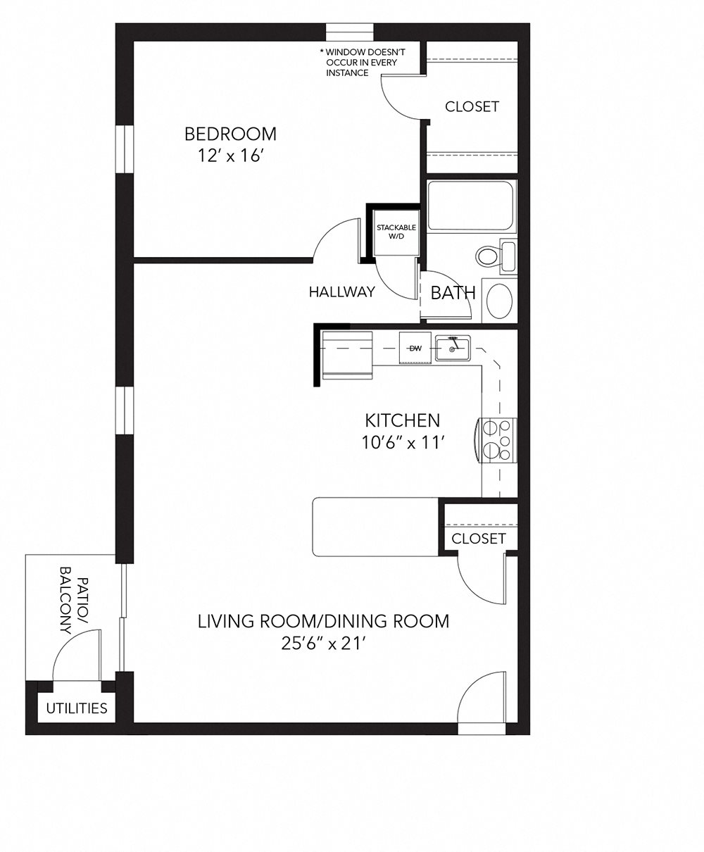 Banbury floor plan at Corner Park apartments, West Chester, PA
