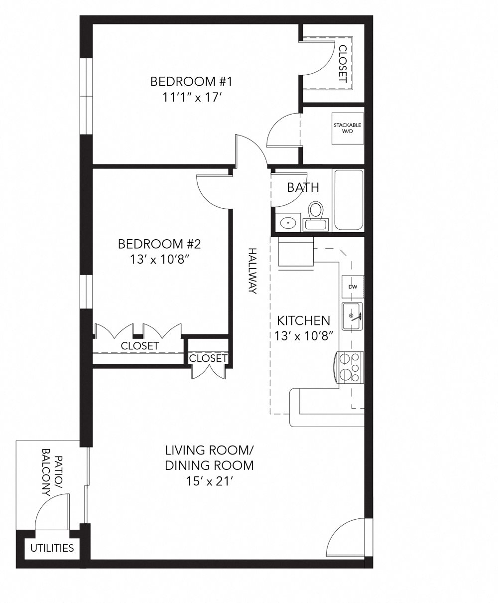 Brandywine floor plan at Corner Park apartments, PA, 19380
