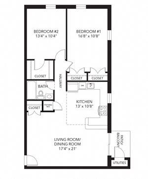 Marshall floor plan at Corner Park apartments, 805 E. Boot Road, PA