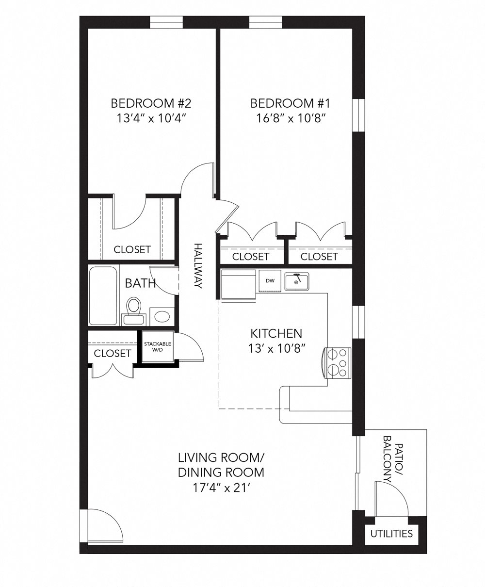 Marshall floor plan at Corner Park apartments, 805 E. Boot Road, PA