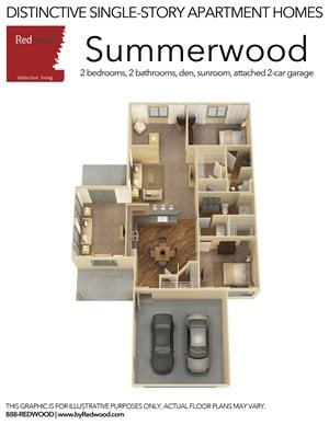 Summerwood - 2 Bed, 2 Bath, 2-Car Attached Garage, Den, and Sunroom