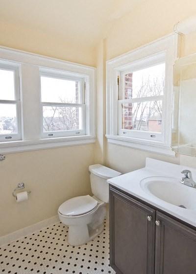 Bathroom with polka dot tile