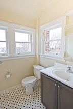 Bathroom with polka dot tile