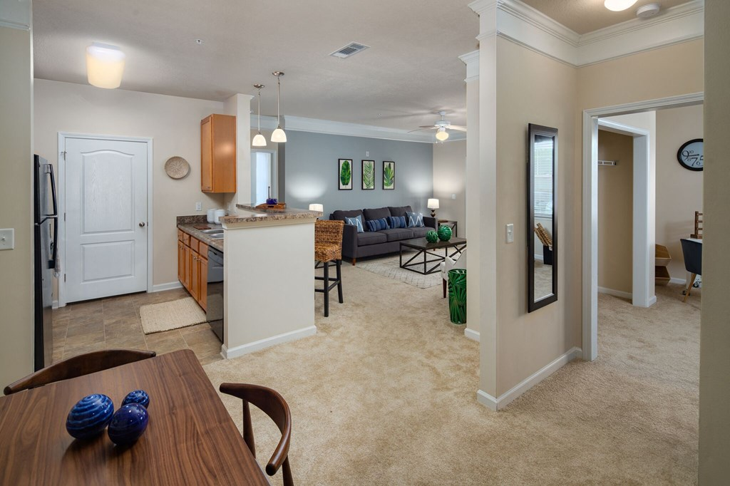 Living Room Come Kitchen View at Abberly Crossing Apartment Homes by HHHunt, South Carolina