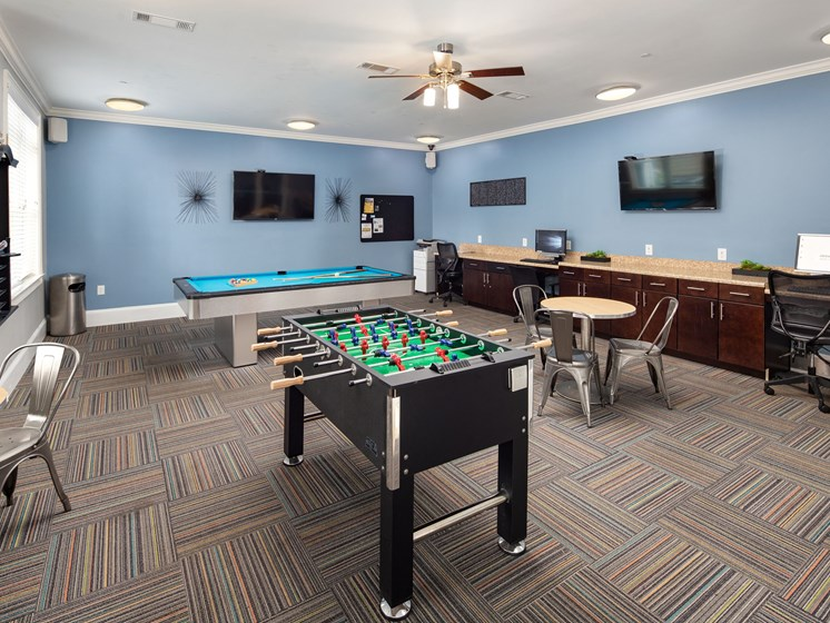 Billiards Table In Clubhouse at Abberly Crossing Apartment Homes by HHHunt, Ladson, SC, 29456