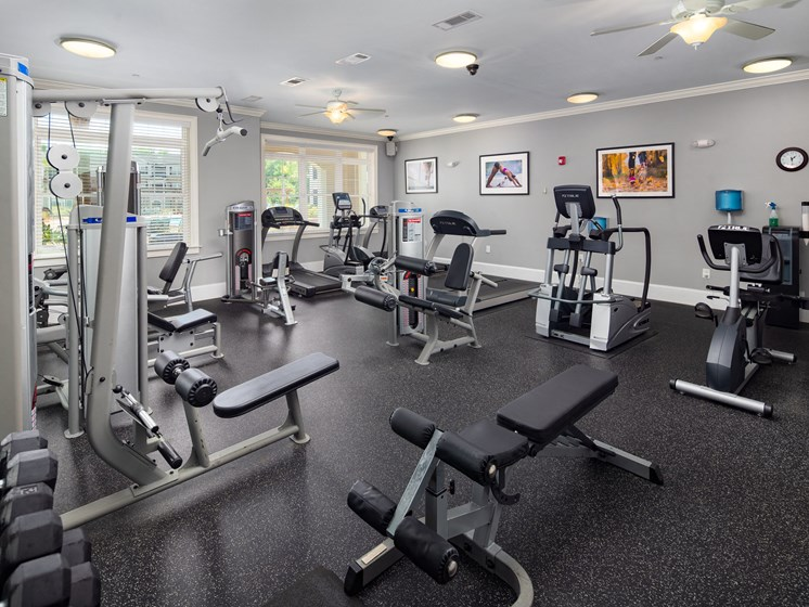 Fitness Center With Updated Equipment at Abberly Crossing Apartment Homes by HHHunt, Ladson, 29456