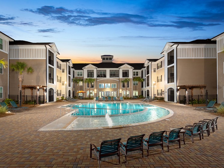 Blue Cool Swimming Pool at Abberly Crossing Apartment Homes, Ladson, South Carolina