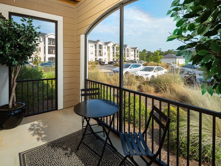 Private Balcony With Seating at Abberly Crossing Apartment Homes, Ladson, 29456