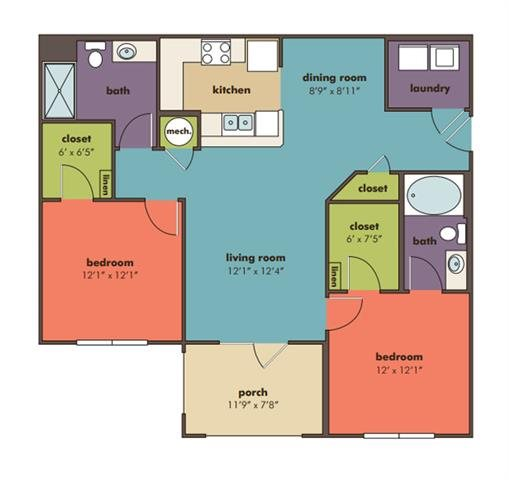 Lotus Floorplan at Abberly Crossing Apartment Homes by HHHunt, Ladson, South Carolina