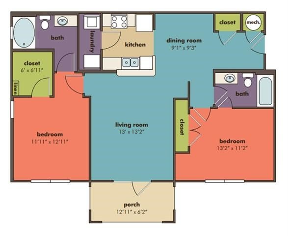 Lyra Floorplan at Abberly Crossing Apartment Homes by HHHunt, Ladson