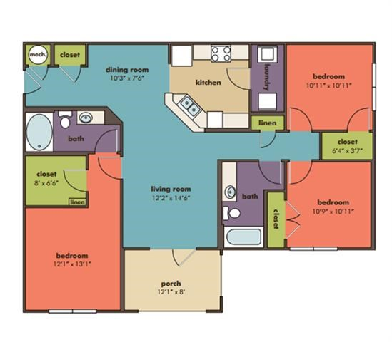 Vega Floorplan at Abberly Crossing Apartment Homes by HHHunt, Ladson, 29456
