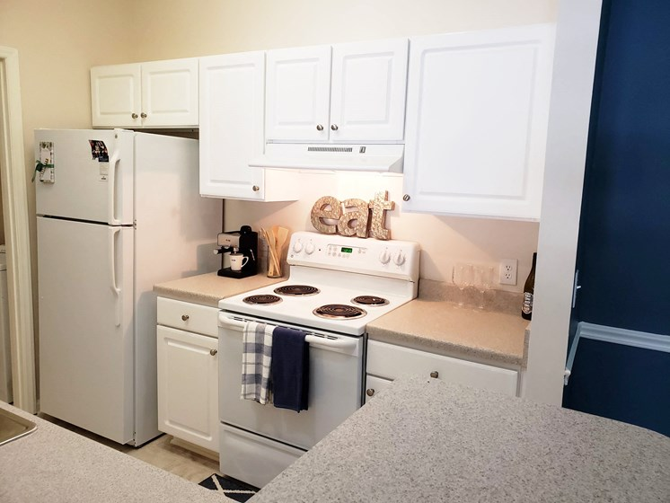 White-on-White Kitchen Design at Abberly Grove Apartment Homes, North Carolina