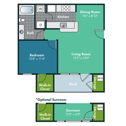 1 Bedroom 1 Bath Floorplan Floorplan for Biltmore with Sunroom at Abberly Grove Apartment Homes by HHHunt, Raleigh