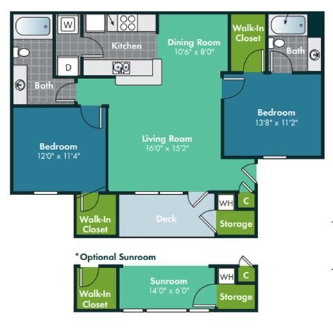 2 Bedroom 2 Bath Floorplan for Crabtree with Sunroom at Abberly Grove Apartment Homes by HHHunt, North Carolina