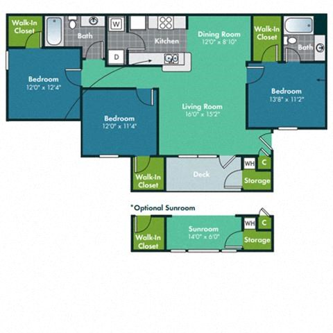 3 Bedroom 2 Bath Flooplan for Hatteras with Sunroom at Abberly Grove Apartment Homes by HHHunt, North Carolina, 27610