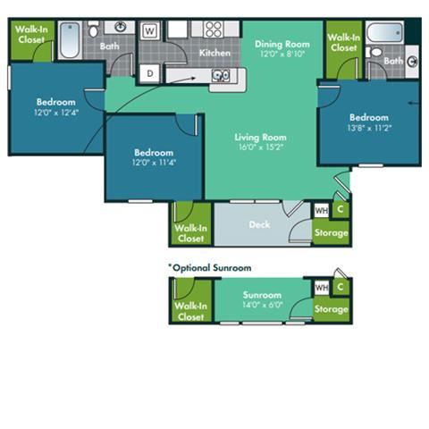 3 Bedroom 2 Bath Floorplan for Hatteras at Abberly Grove Apartment Homes by HHHunt, Raleigh, 27610