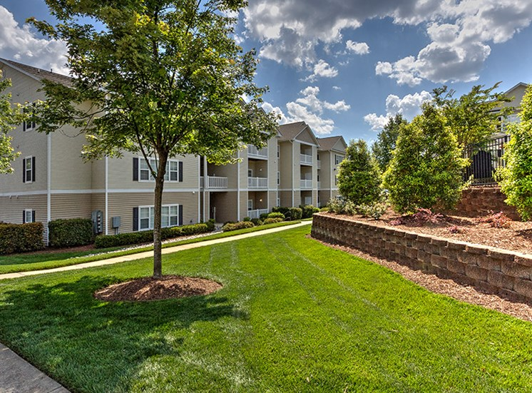 Lush landscaping at Abberly Grove Apartment Homes, Raleigh