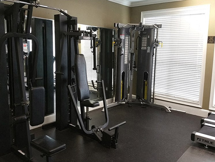 Enjoy a varied workout in our newly updated fitness center at Abberly Grove Apartment Homes, North Carolina, 27610