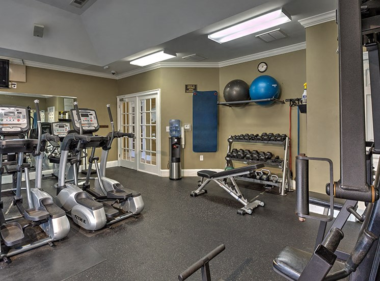 The fitness center offers a variety of workout options at Abberly Grove Apartment Homes, Raleigh, NC