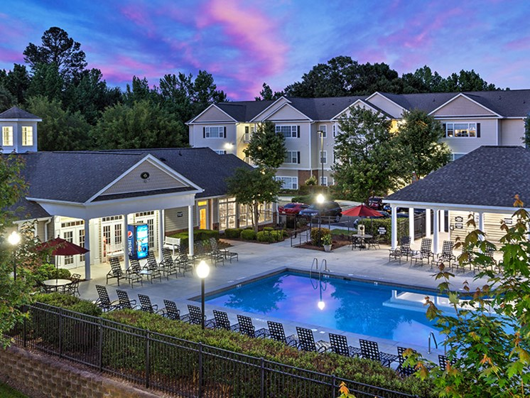 Pool side canabas at Abberly Grove Apartment Homes, Raleigh North Carolina