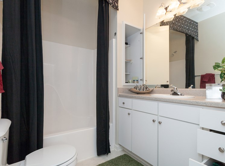 Updated bathrooms feature design inspired lighting at Abberly Grove Apartment Homes, Raleigh, NC