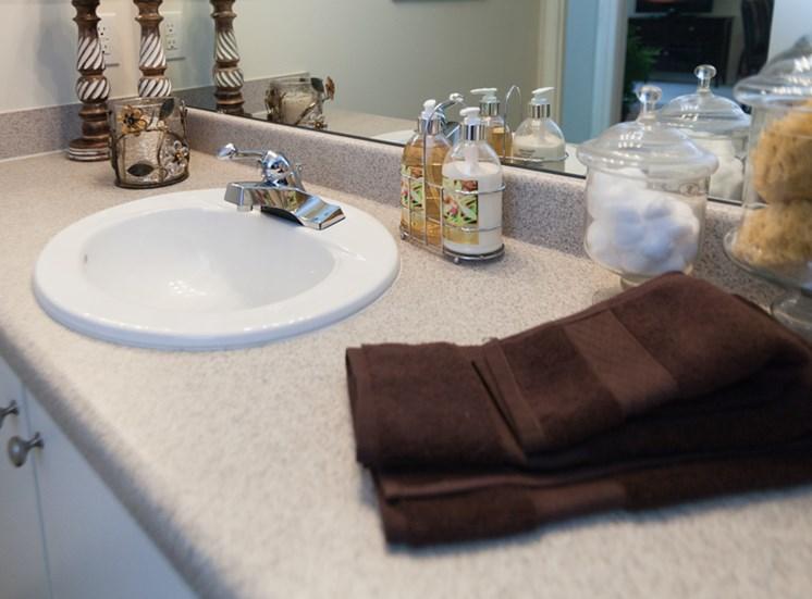 Designer Granite Countertops in all Bathrooms at Abberly Grove Apartment Homes, North Carolina