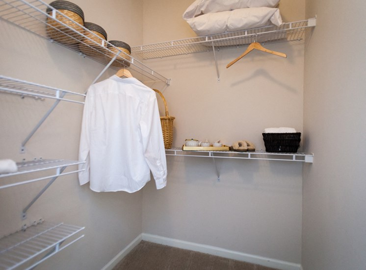 Over-sized Linen closets at Abberly Grove Apartment Homes, Raleigh, NC