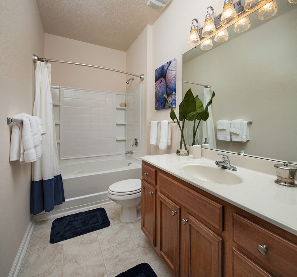 Oval Soaking Tubs In Bathroom at Abberly Pointe Apartment Homes by HHHunt, South Carolina