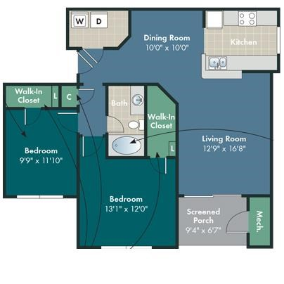The Federal Floorplan at Abberly Pointe Apartment Homes by HHHunt, Beaufort, SC