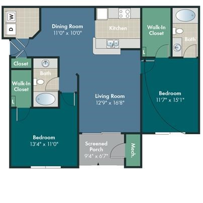 The Scotland Floorplan at Abberly Pointe Apartment Homes by HHHunt, South Carolina, 29935