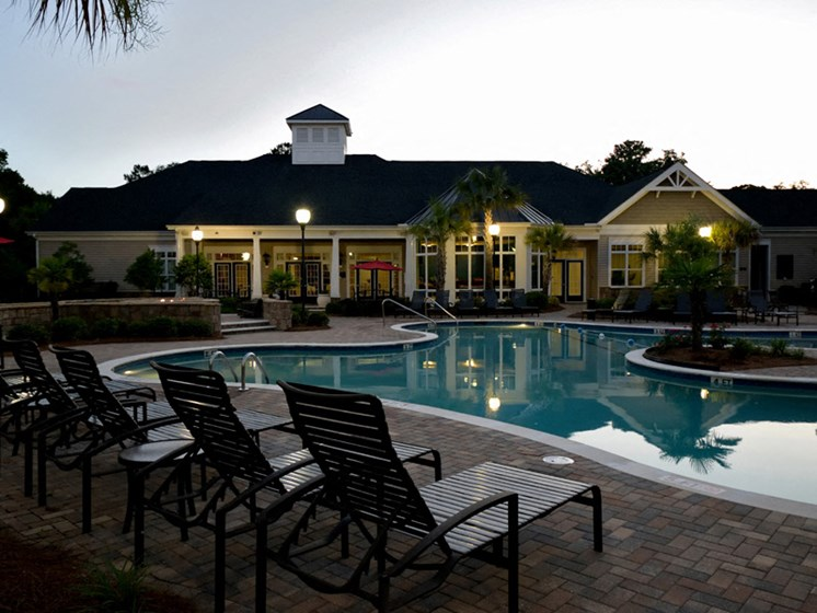 Relaxing Poolside Sundecks at Abberly Pointe Apartment Homes, Beaufort, South Carolina