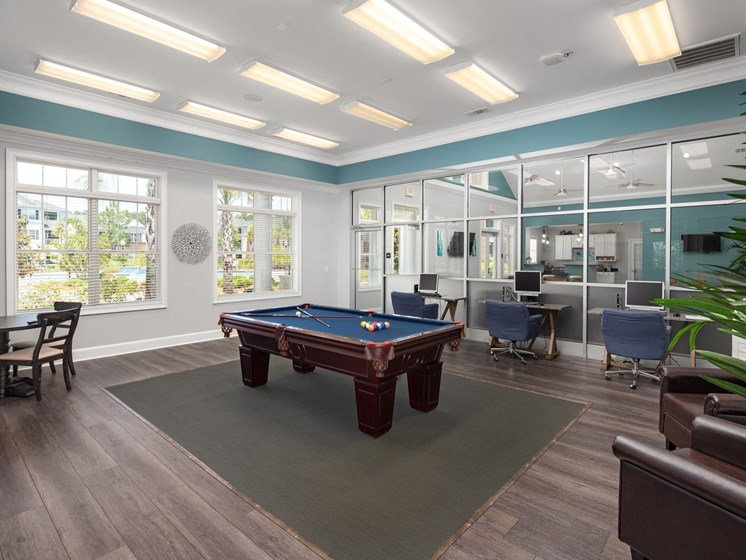 Billiards Table In Clubhouse at Abberly Chase Apartment Homes by HHHunt, South Carolina, 29936