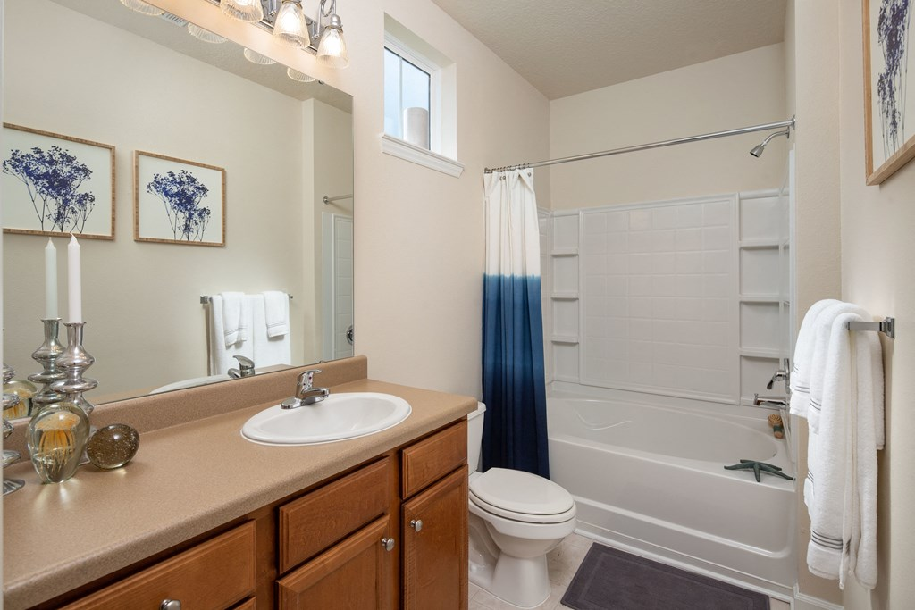 Oval Tub With Combo Shower at Abberly Chase Apartment Homes by HHHunt, South Carolina