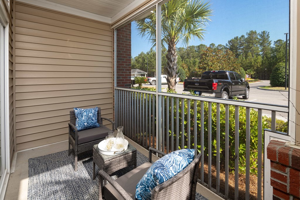 Outdoor Patio at Abberly Chase Apartment Homes by HHHunt, South Carolina, 29936