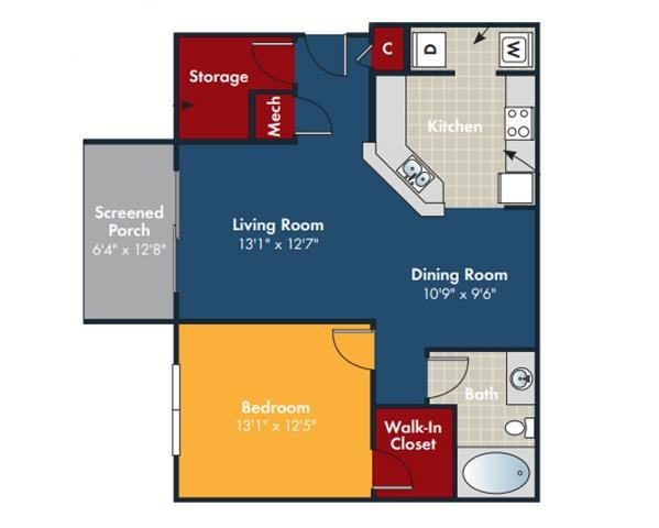 Cobalt Floorplan at Abberly Chase Apartment Homes by HHHunt, Ridgeland, South Carolina