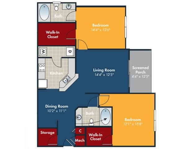 Stonewater Floorplan at Abberly Chase Apartment Homes by HHHunt, Ridgeland, SC