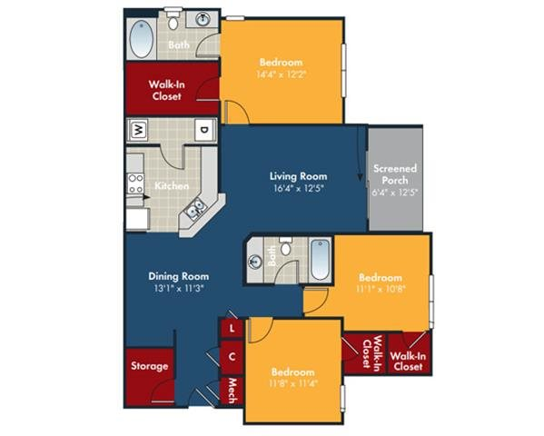 Vista Floorplan at Abberly Chase Apartment Homes by HHHunt, Ridgeland, South Carolina