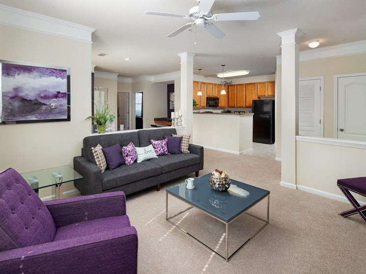 Precious Living Room With Kitchen Viewing at Abberly Village Apartment Homes, South Carolina