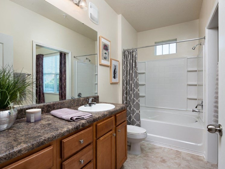 Large Soaking Tub In Bathroom at Abberly Village Apartment Homes by HHHunt, West Columbia, SC, 29169