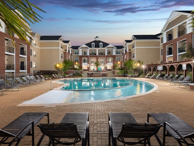 Blue Cool Swimming Pool at Abberly Village Apartment Homes by HHHunt, South Carolina
