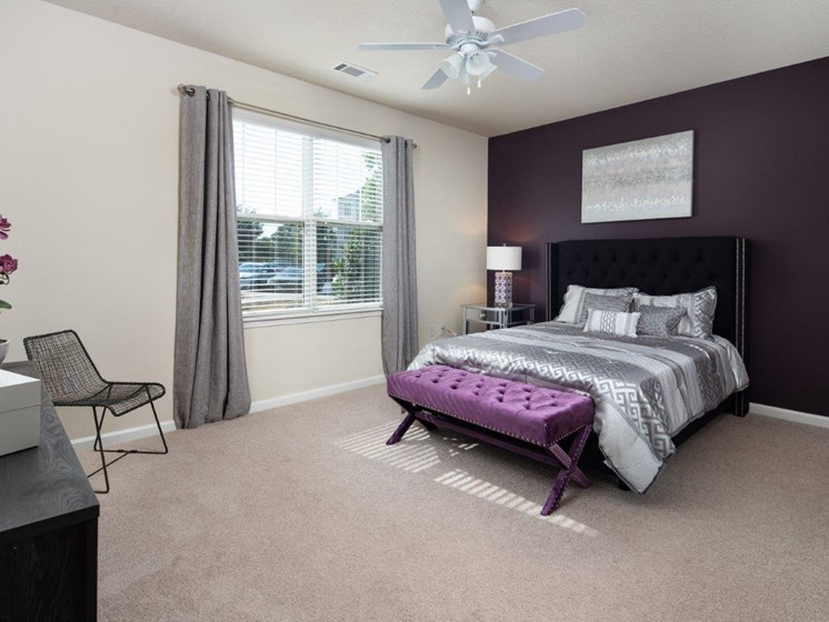 Modern Bedroom With Ceiling Fan at Abberly Village Apartment Homes, West Columbia, South Carolina