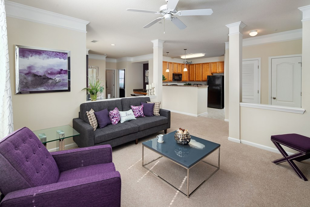 Living Room Come Dining Area View at Abberly Village Apartment Homes by HHHunt, South Carolina