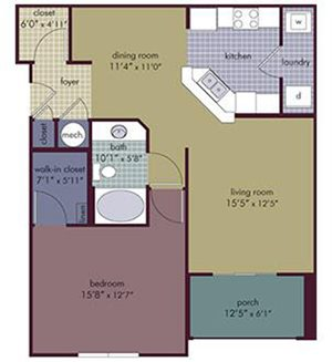 Avalon Floorplan at Abberly Village Apartment Homes, South Carolina, 29169