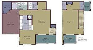 Bijioux Floorplan at Abberly Village Apartment Homes, West Columbia, SC, 29169