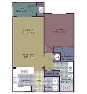 Cavo Floorplan at Abberly Village Apartment Homes, West Columbia, SC