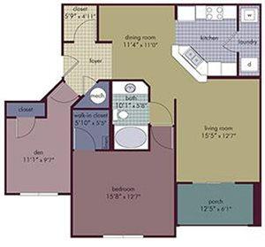 Melodia Floorplan at Abberly Village Apartment Homes, West Columbia, South Carolina